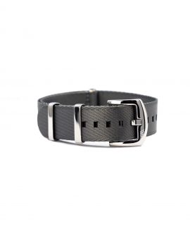 Premium 1.2 mm seat belt polished NATO Strap grey front by WatchBandit