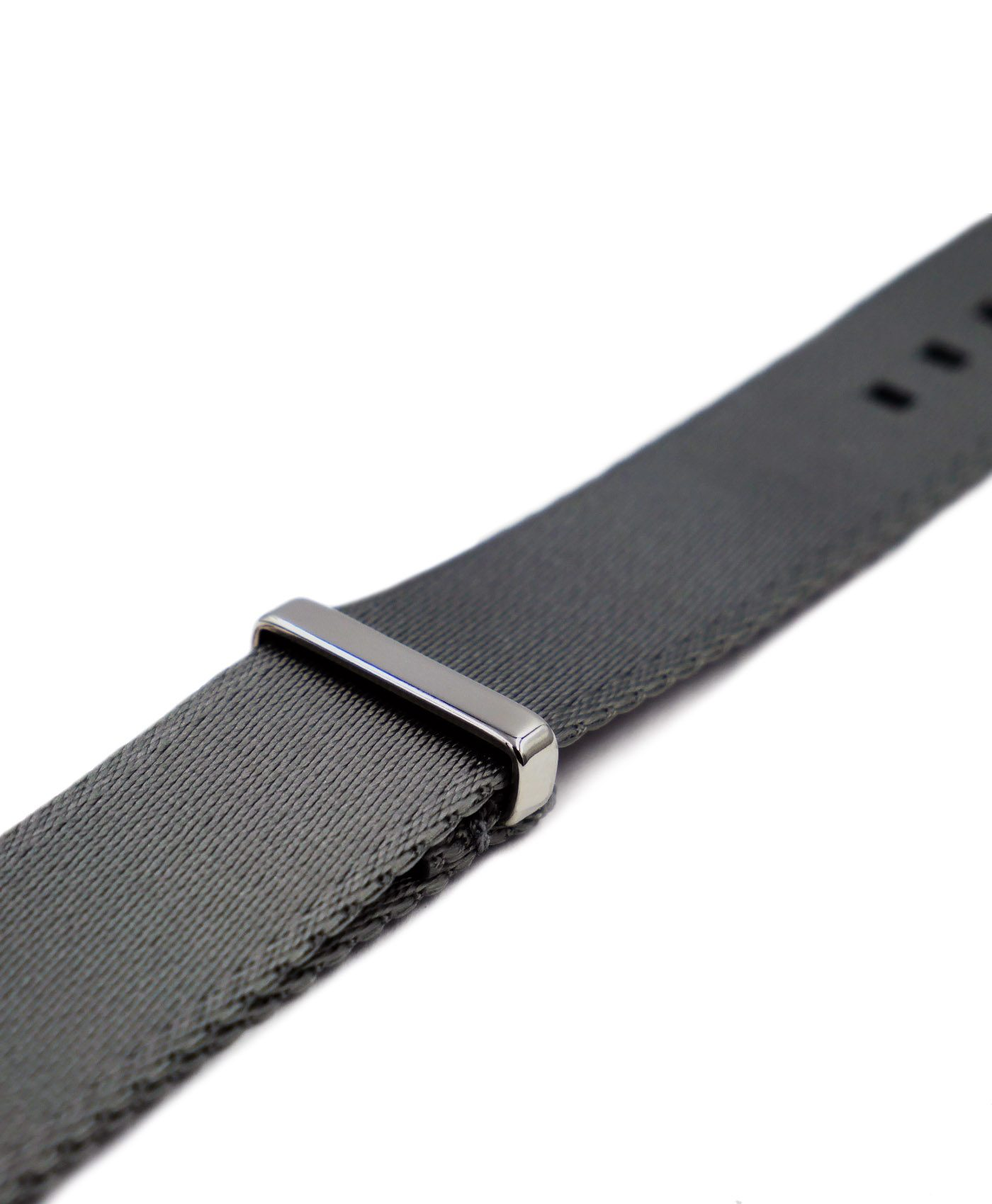 Premium 1.2 mm seat belt polished NATO Strap grey side by WatchBandit