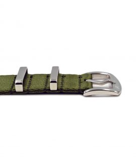 Premium 1.2 mm seat belt polished NATO Strap green buckle by WatchBandit