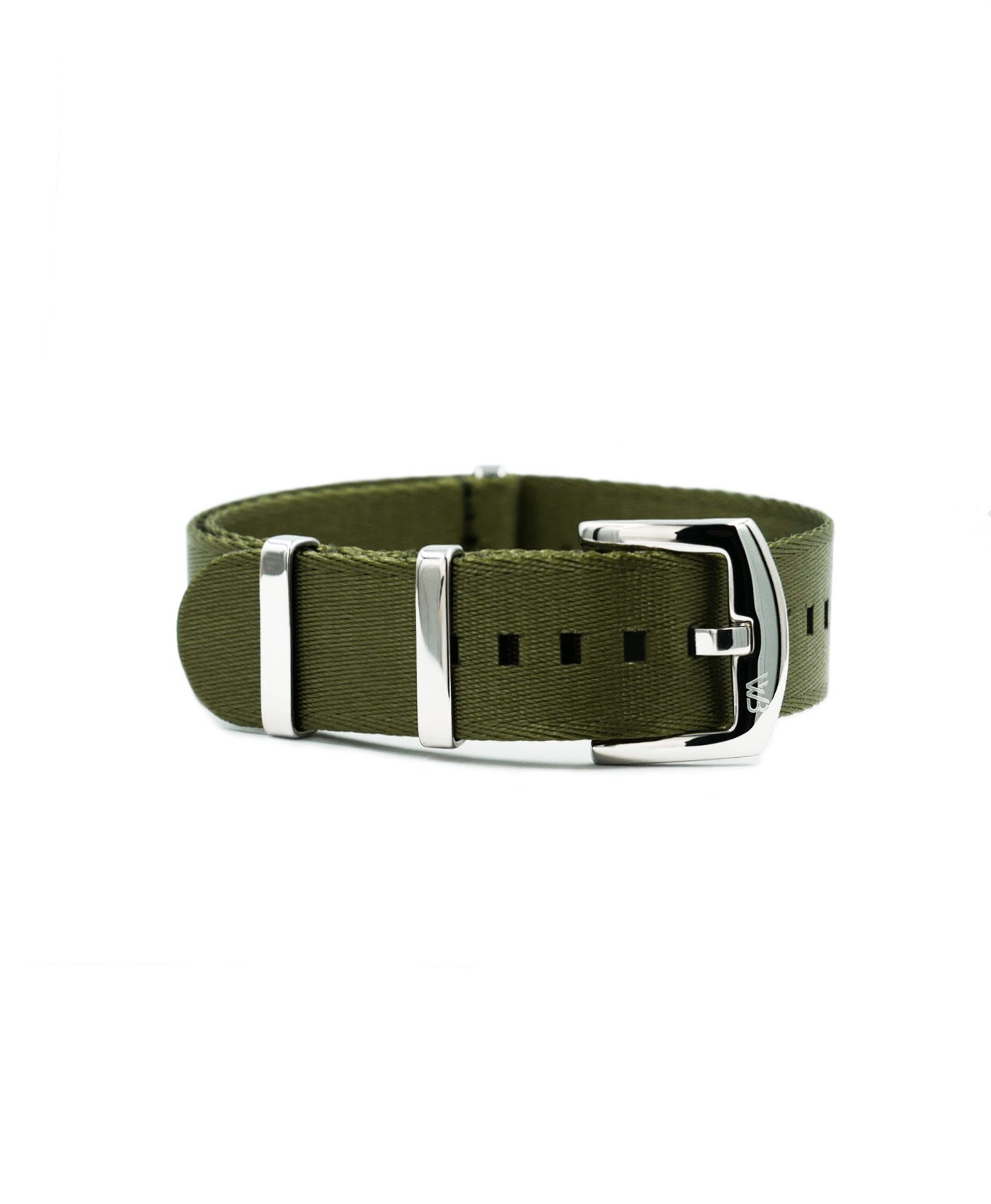 Premium 1.2 mm seat belt polished NATO Strap green front by WatchBandit
