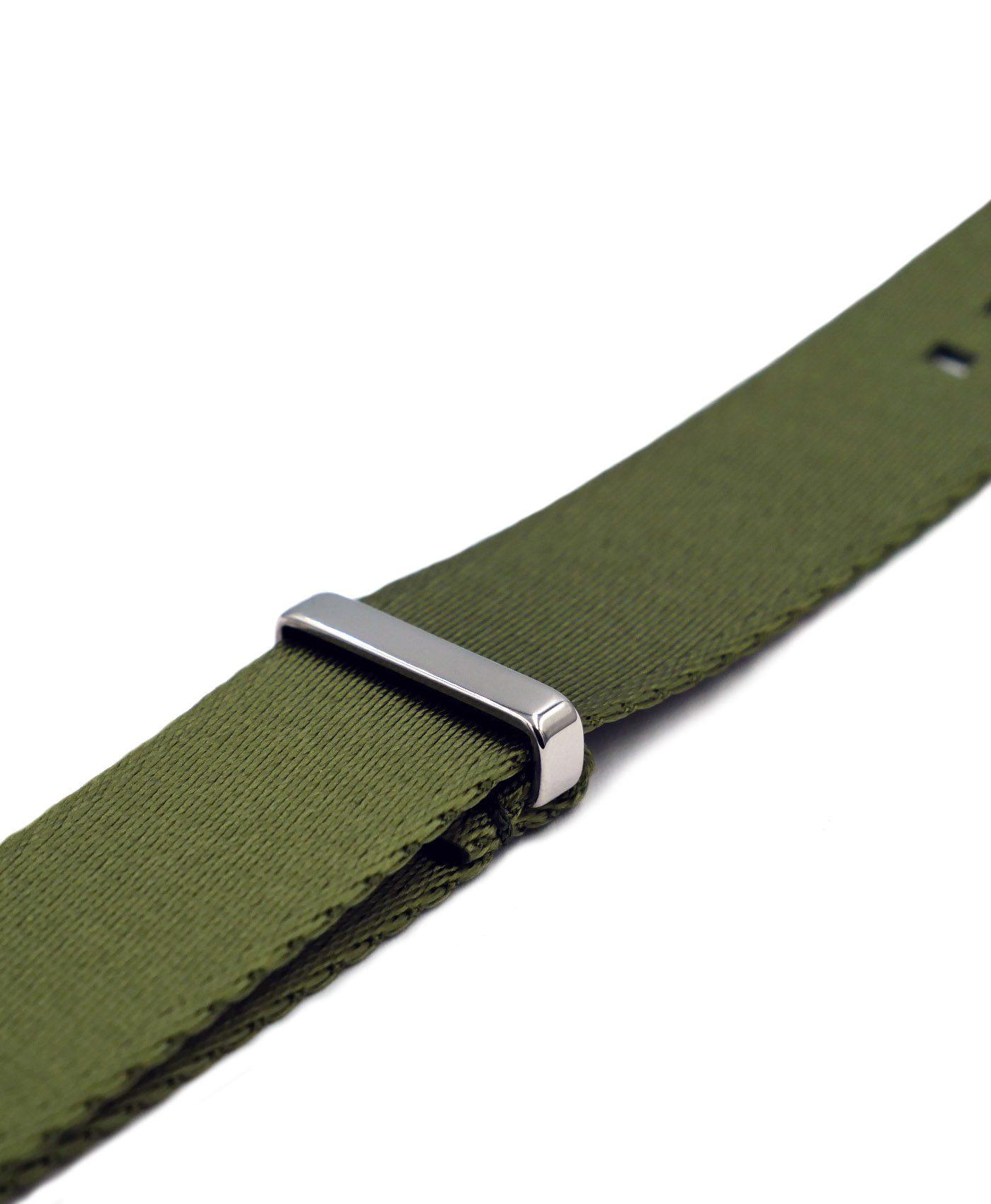 Premium 1.2 mm seat belt polished NATO Strap green side by WatchBandit