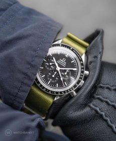 Watchbandit green premium nato strap Omega Speedmaster Professional by Gulenissen