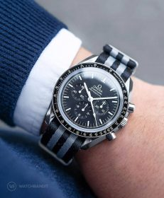 Watchbandit grey black striped james bond premium nato strap Omega Speedmaster Professional by Gulenissen