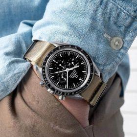 Omega Speedmaster on khaki premium NATO band by Watchbandit