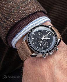 Watchbandit khaki Sailcloth Cordura strap Omega Speedmaster Professional