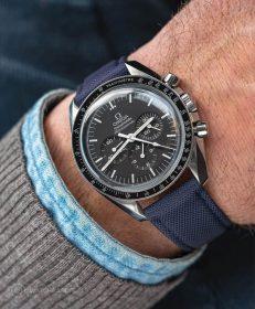 Watchbandit navy blue Sailcloth Cordura watch strap Omega Speedmaster Professional