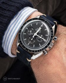 Omega Speedmaster on midnight blue Vintage leather Strap by WatchBandit