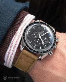 Omega Speedmaster on beige Canvas Strap by WatchBandit