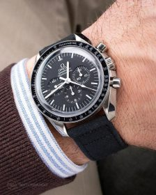 Omega Speedmaster on black Canvas Strap by WatchBandit