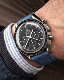 Omega Speedmaster on blue Canvas Strap by WatchBandit