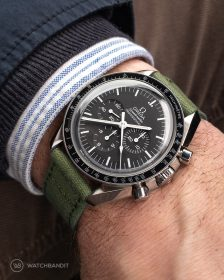 Omega Speedmaster on green Canvas Strap by WatchBandit