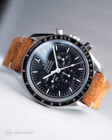 Omega Speedmaster on golden brown Suede Strap by WatchBandit