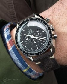 Omega Speedmaster dark grey Suede Strap by WatchBandit