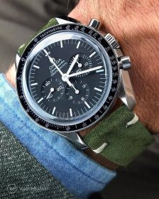 Omega Speedmaster on emerald green Suede Strap by WatchBandit
