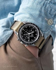 Omega Speedmaster on beige NATO strap by Watchbandit