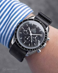 Omega Speedmaster on black NATO strap by Watchbandit