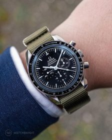 Omega Speedmaster on green NATO strap by Watchbandit