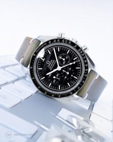 Omega Speedmaster on green Vintage leather Strap by WatchBandit