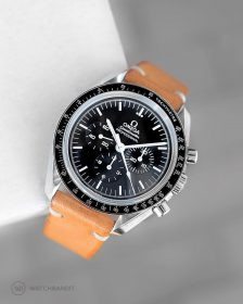 Omega Speedmaster on tenned brown Vintage leather Strap by WatchBandit