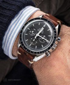 Omega Speedmaster on brown Vintage leather Strap by WatchBandit