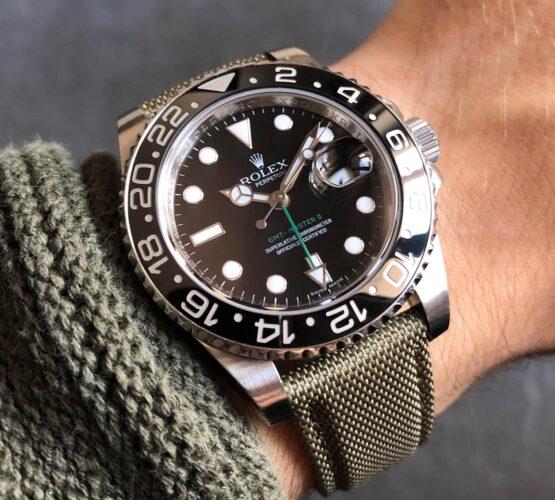 Rolex GMT Master II 116710LN Watchbandit Cordura Strap Military Green Gmtfanatic