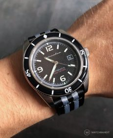 Spinnaker Fleuss SP-5055-02 on black/grey two-piece NATO by WatchBandit