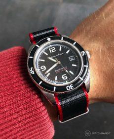 Spinnaker Fleuss SP-5055-02 on black/red NATO by WatchBandit