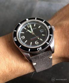 Spinnaker Fleuss SP-5055-02 dark grey suede leather strap by WatchBandit