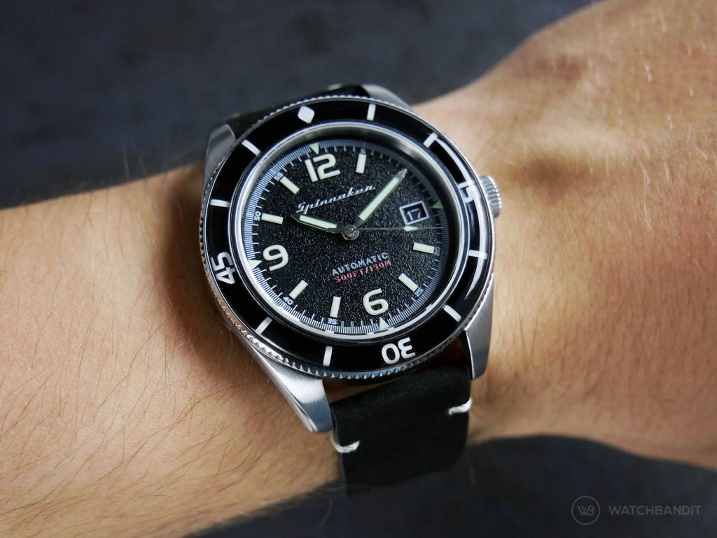Spinnaker Fleuss SP-5055-02 black vintage leather strap by WatchBandit