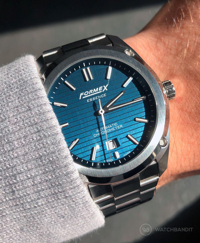 Formex Essence Automatic Chronometer Blue Stainless Steel Bracelet wrist shot