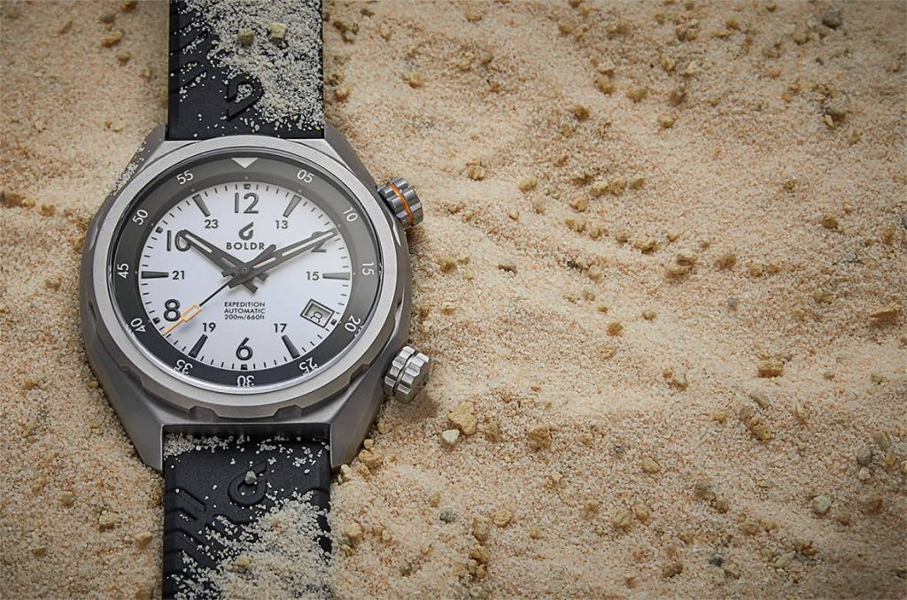 Boldr Explorer II Eiger white dial in sand watchbandit