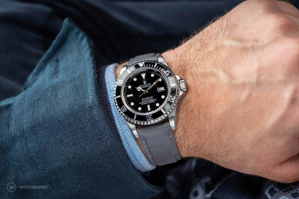 Rolex Explorer I wrist shot Watchbandit Cordura Strap Grey