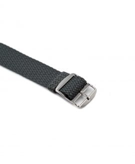 Watchbandit Premium Perlon Watch strap dark grey buckle