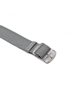 Watchbandit Premium Perlon Watch strap light grey buckle