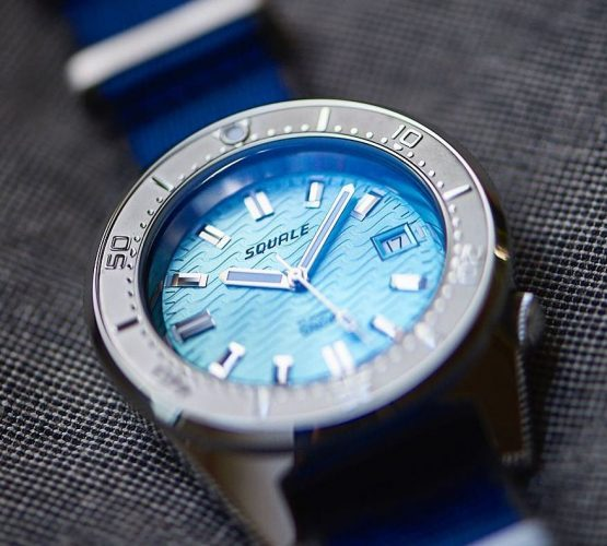 Squale 1521 Series 026 ONDA AQUA on blue NATO strap by watchbandit
