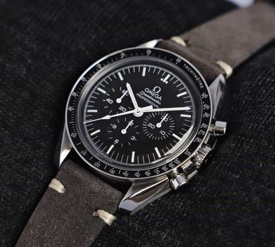 Omega Speedmaster Professional dark grey suede leather strap by watchbandit