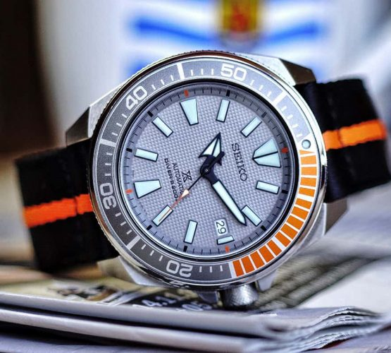 Hands-On - Seiko Prospex Dawn Grey on orange black two piece NATO strap by watchbandit