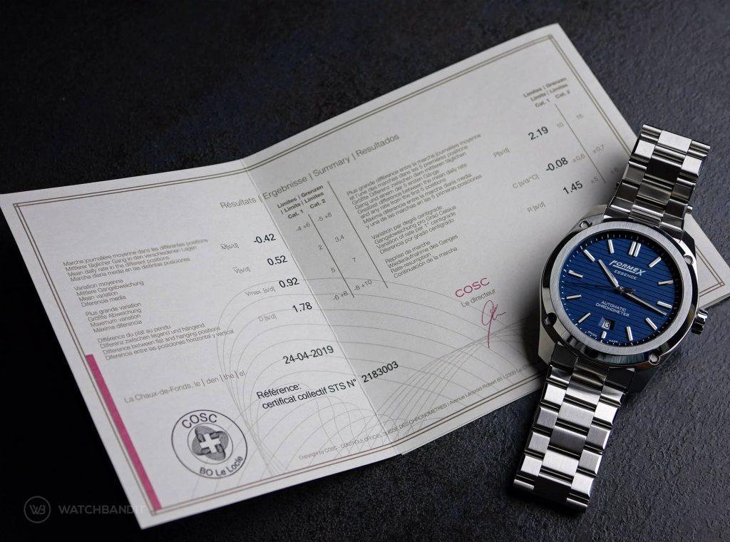 Formex Essence Chronometer COSC Certificate