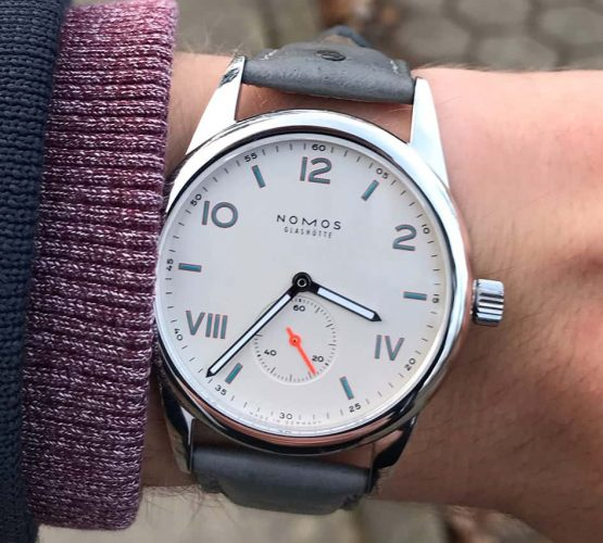 NOMOS Club Campus on grey ostrich leather strap by watchbandit wristshot