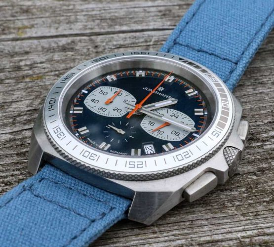 Junghans performance chronograph 1972 on blue canvas strap by watchbandit