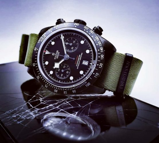 Tudor Chronograph black PVD green NATO strap by watchbandit