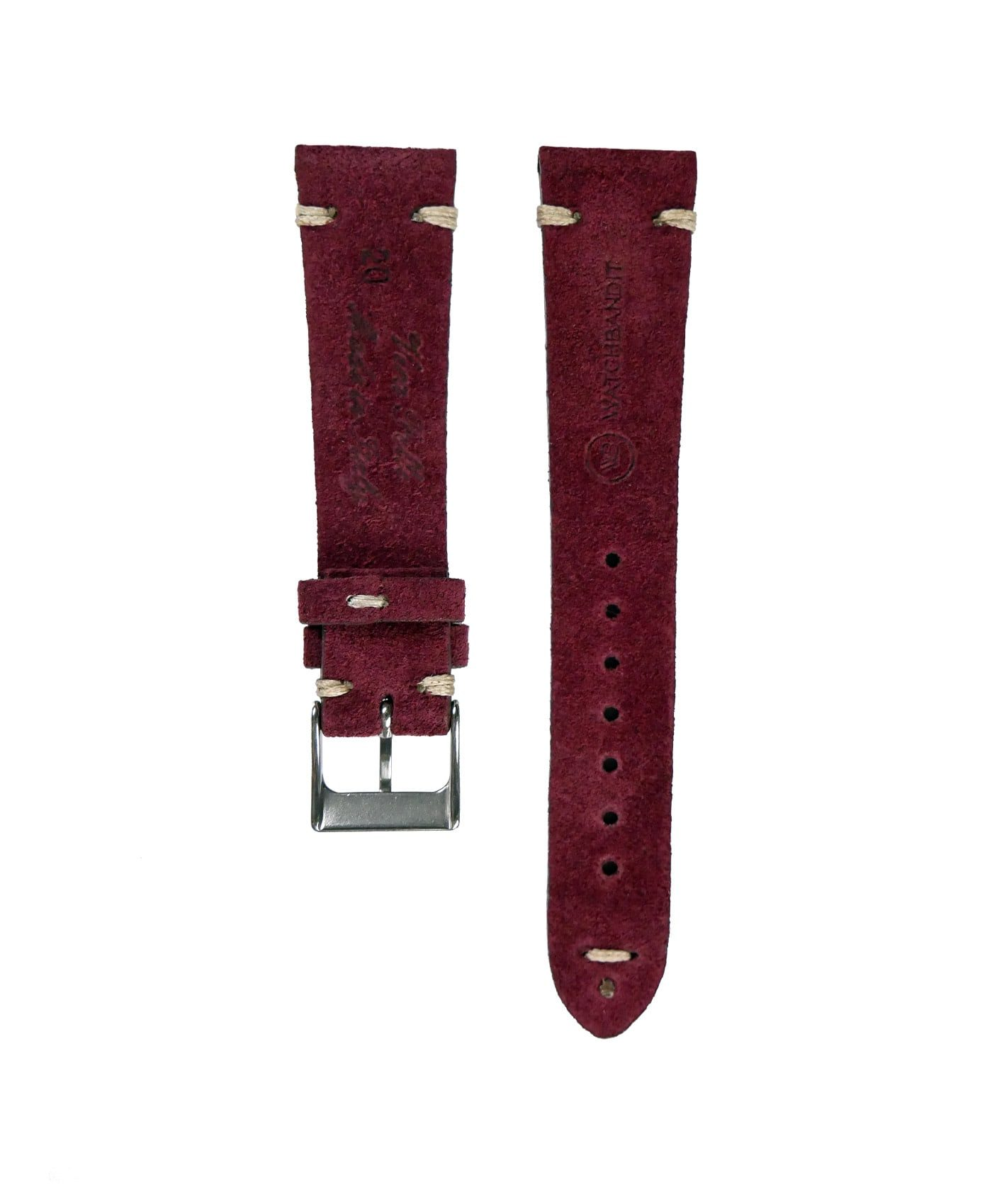 WB original premium suede watch strap burgundy bordeaux red rear