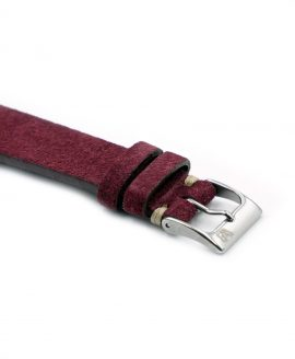 WB original premium suede watch strap burgundy bordeaux red side buckle