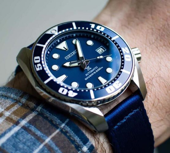 Seiko Prospex Blue on blue two piece NATO strap by watchbandit