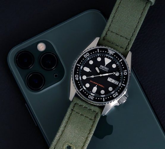 Seiko SKX007 on green canvas strap by watchbandit iPhone 11