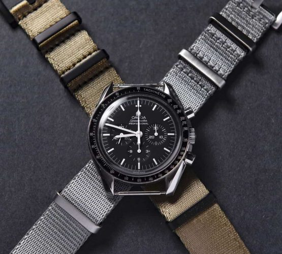Omega Speedmaster Professional grey and khaki NATO strap by watchbandits