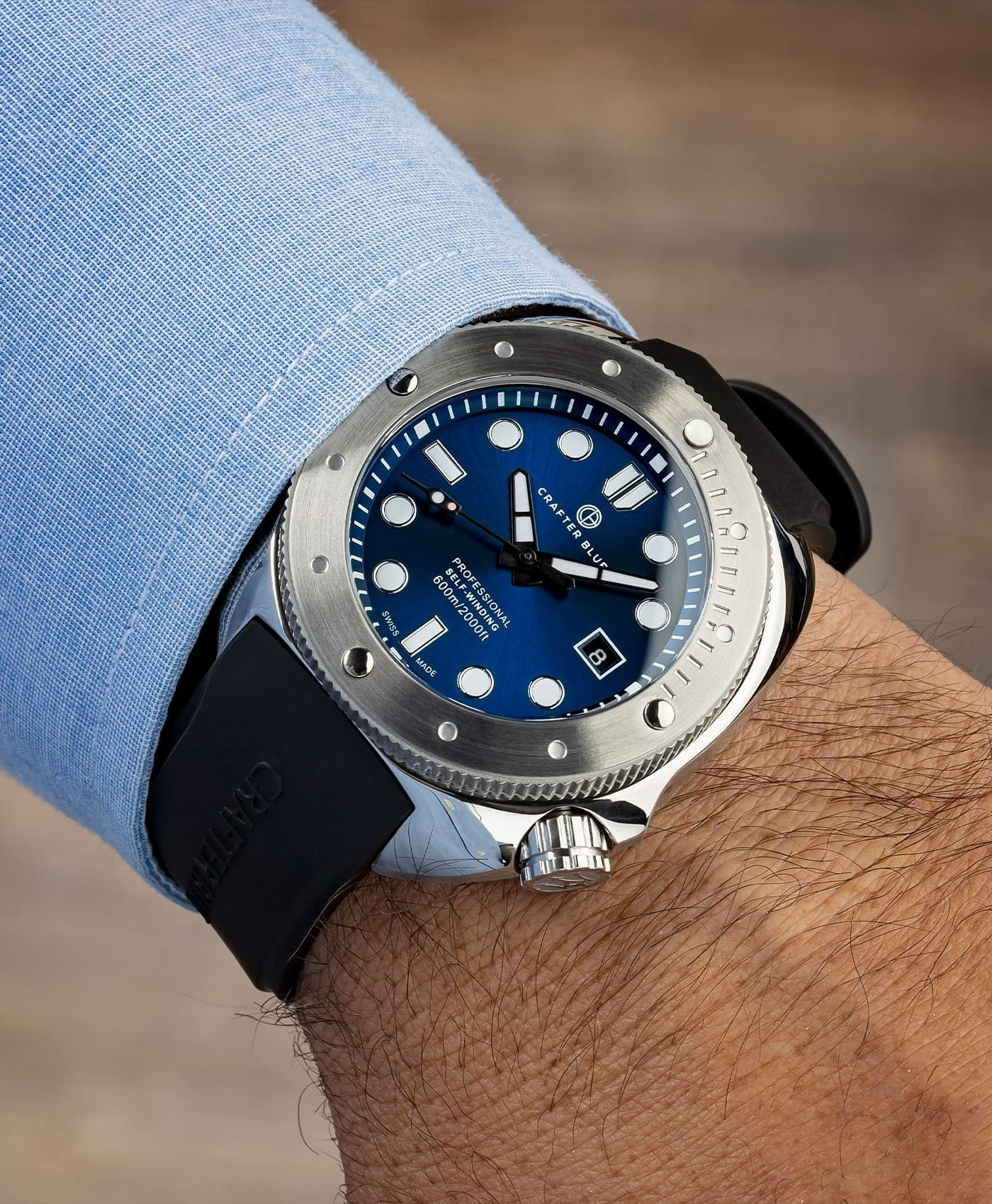 CRAFTER BLUE HYPERION OCEAN 45MM blue dial wrist shot