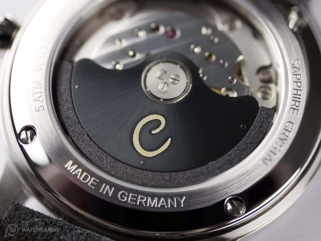 Circula Classic Automatic Anthracite dial close up miyota caliber 9015 movement