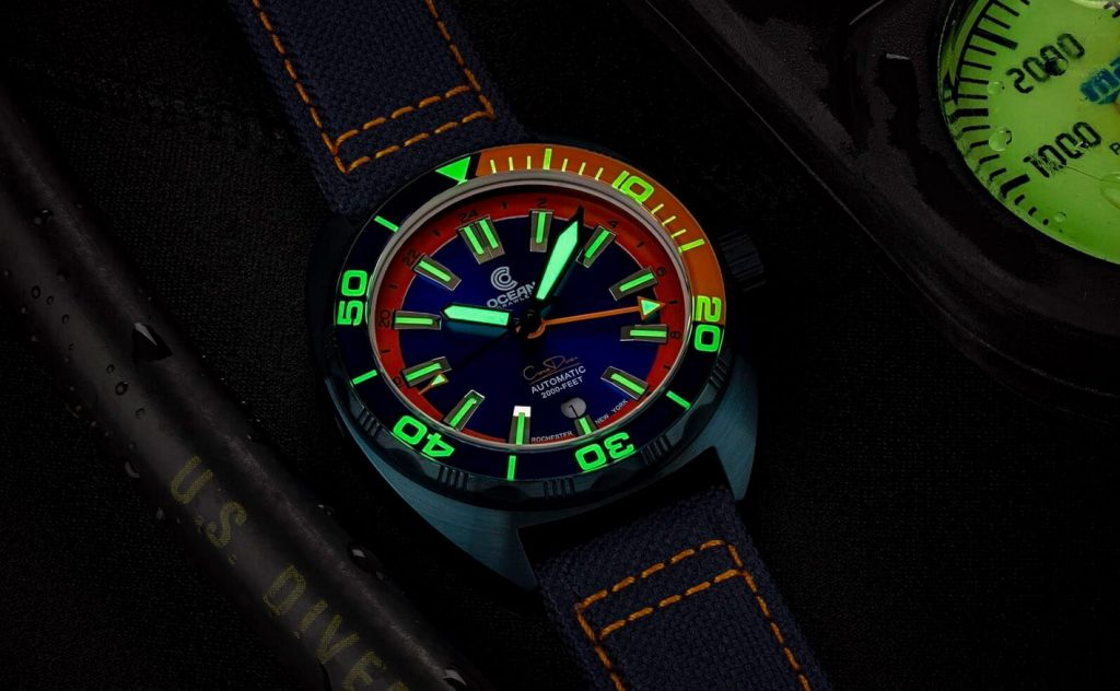 Ocean Crawler Core Diver GMT blue orange lume