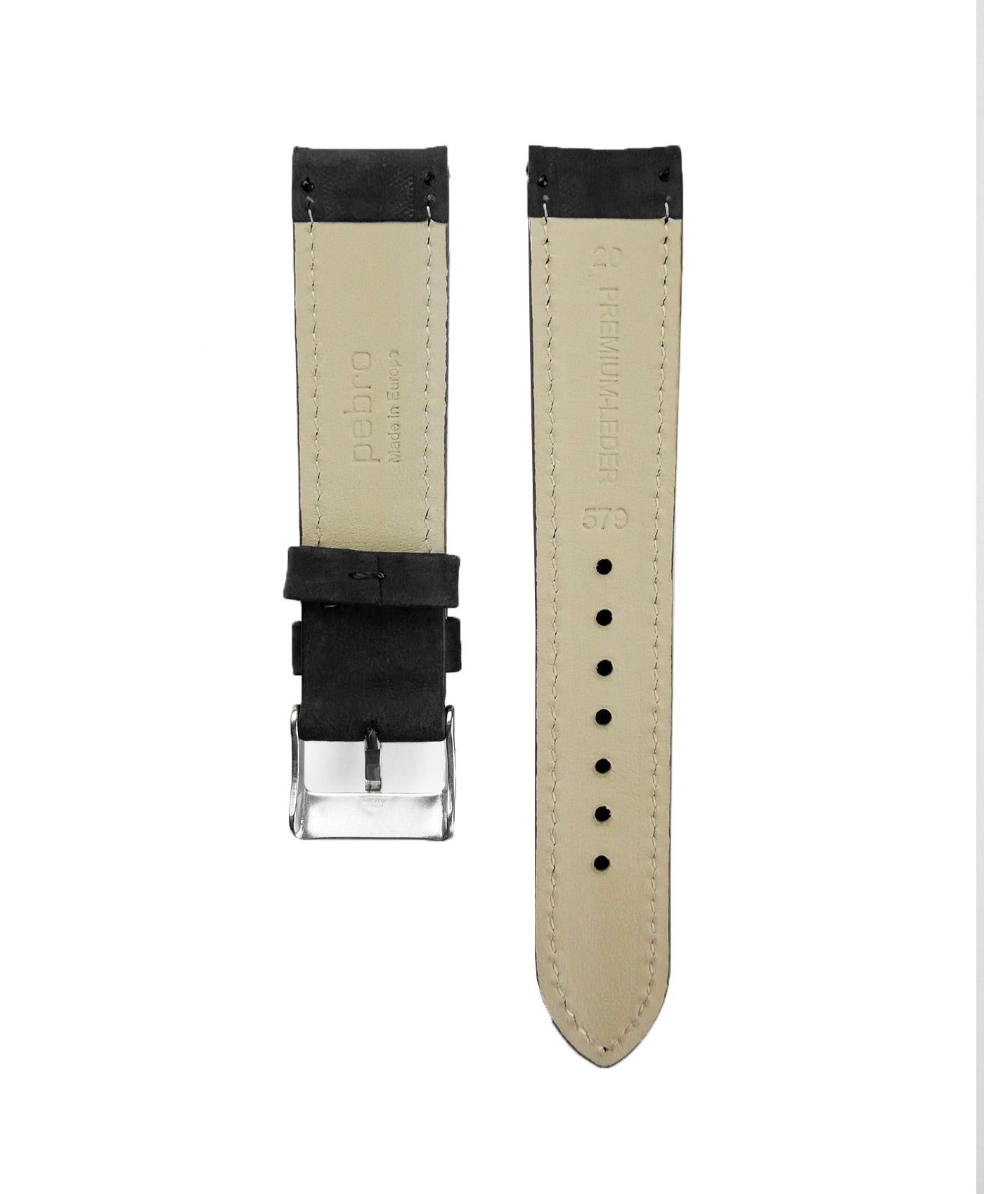 Pebro Premium Calfskin Watch Strap Black No 578 back